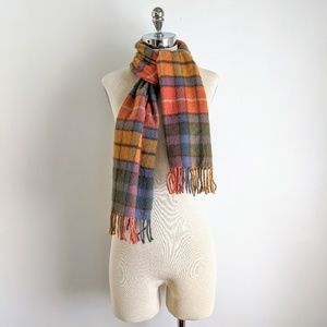 vintage 70's colorful plaid 100% cashmere scarf